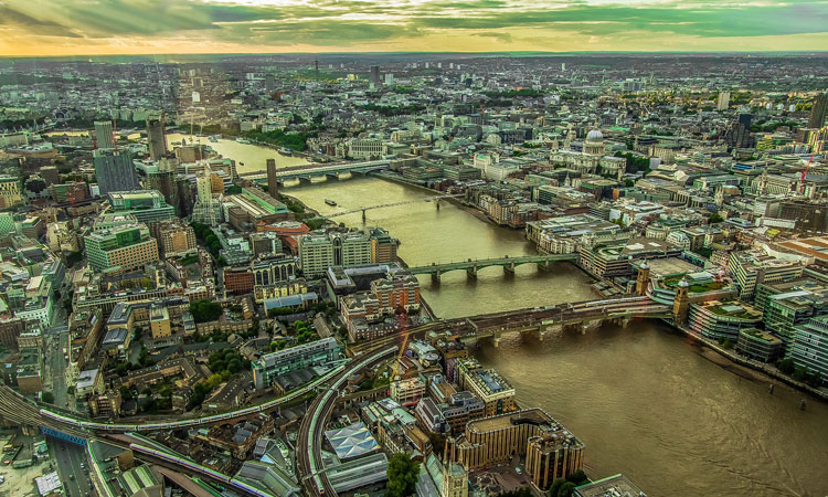 aerial view of london 2019
