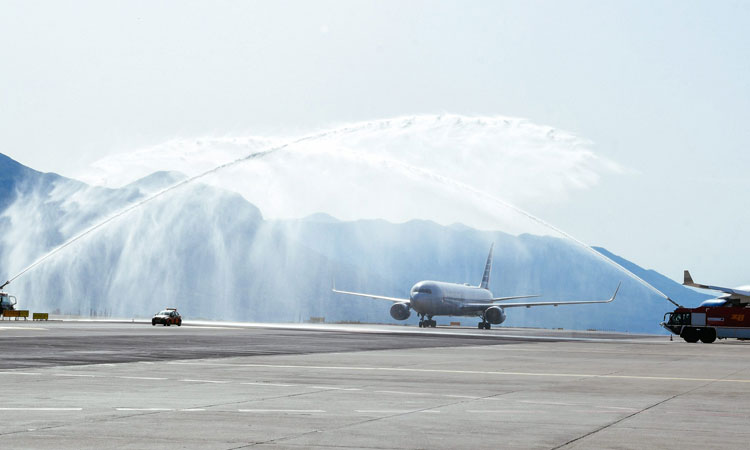 arrival of first american airlines flight greeted with water