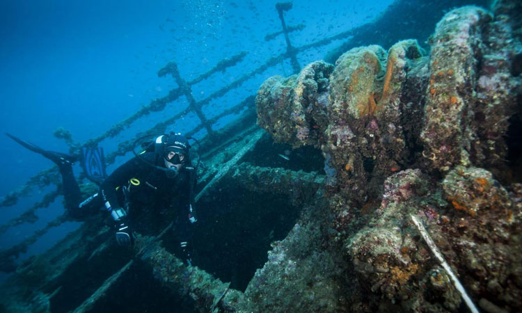 diving to shipwreck in dubrovnik