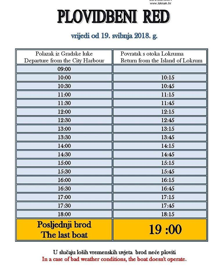 New Lokrum ferry schedule from tomorrow - The Dubrovnik Times