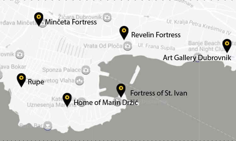 map of dubrovnik museums