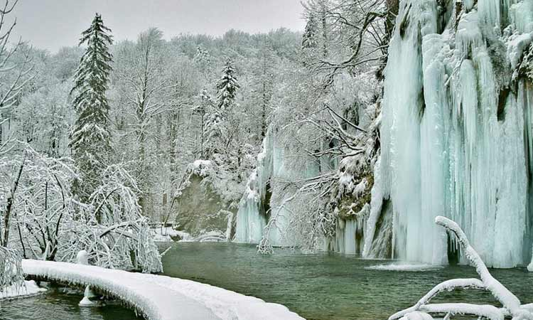 snow covered national park in Croatia 2018