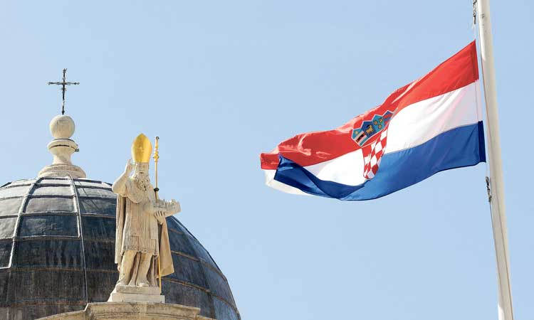 st bliase with croatian flag