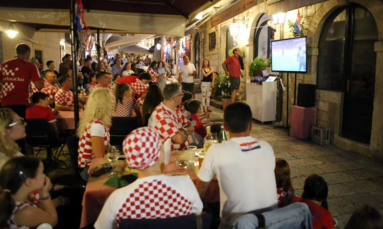 watching world cup in old city dubrovnik