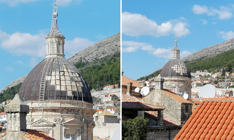 windn damage to dubrovnik cathedral 2019