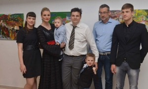 Maro Kriste and family at the opening