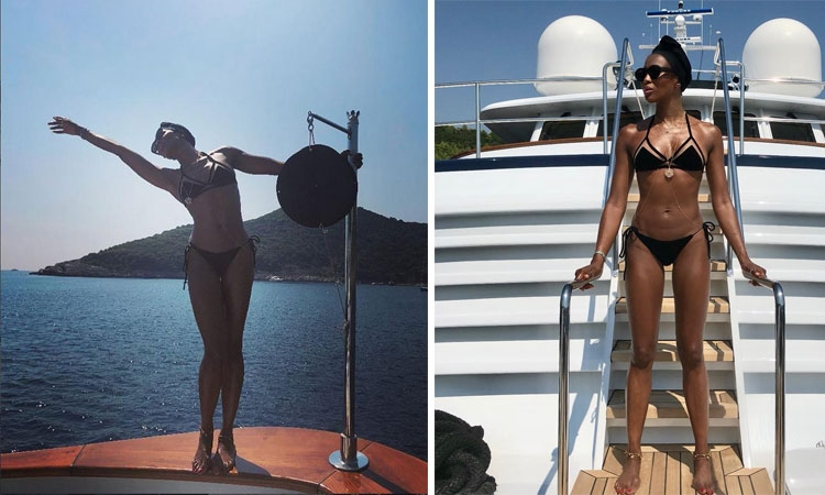 Naomi Campbell enjoy an Adriatic cruise in Dubrovnik