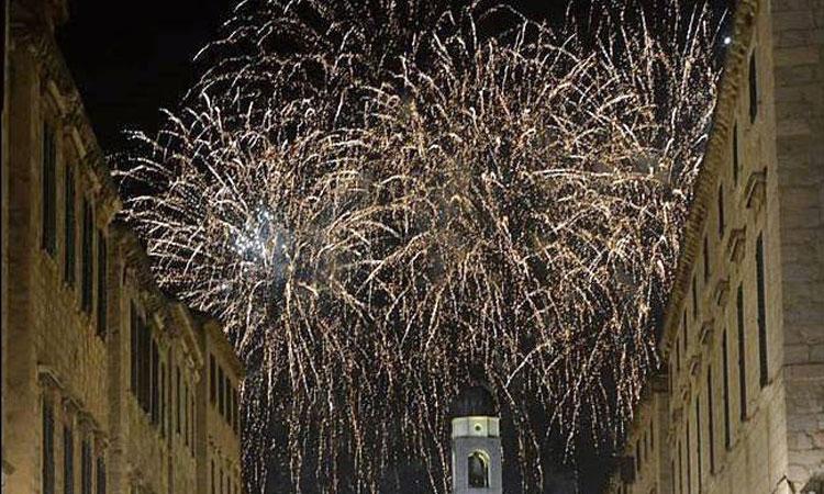 Fireworks light up Dubrovnik night sky