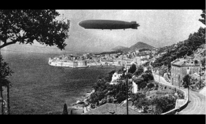 Blimp over the skies of Dubrovnik