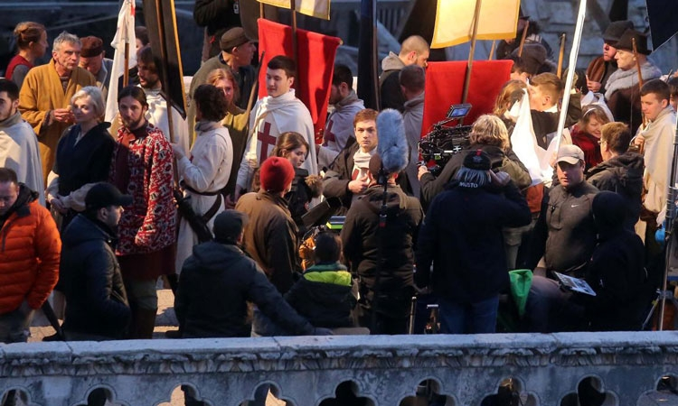 Taron Egerton and Eve Hewson had a busy first day of filming in Dubrovnik