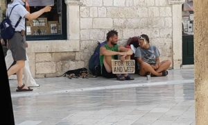 Begging for beer money in Dubrovnik