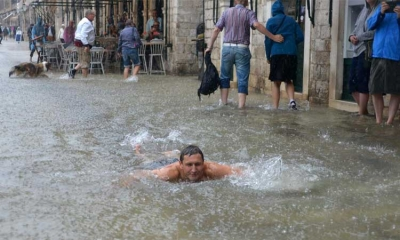 Swimming season on the streets of Dubrovnik