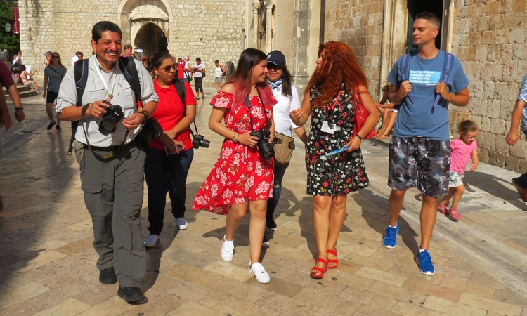 Yuri Cortez with his family in Dubrovnik