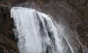 Croatian waterfall flows uphill
