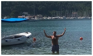 Baywatch superstar David Hasselhoff goes for a swim in Croatia