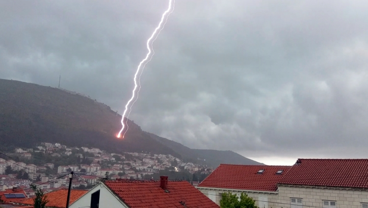 Lightning hits Dubrovnik hillside