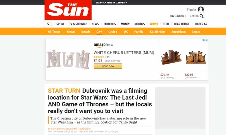 The Sun blames film productions for Dubrovnik tourism chaos
