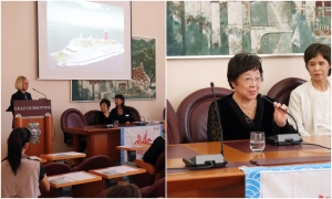 Peace Boat representatives in Dubrovnik show the consequences of using nuclear weapons