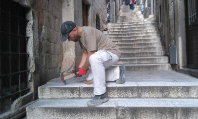 Stonemason working on Dubrovnik steps