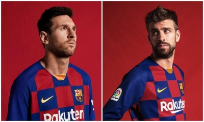 FAMILIAR CHECKERS: Croatian Football Federation jokes with new FC Barcelona jersey
