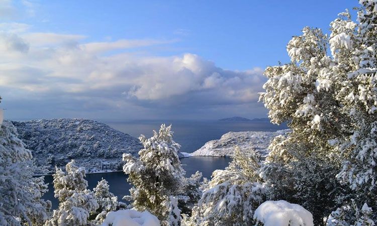 Snow over the Elaphite Islands