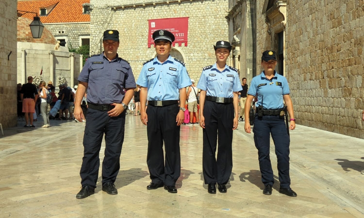On patrol with Chinese Police in Dubrovnik