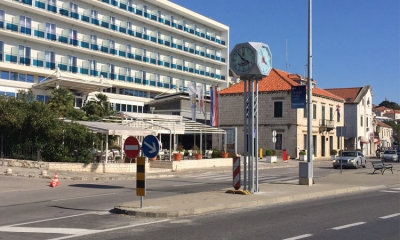 City clock in front of Hotel Petka