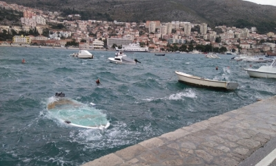 Boats sunk in Dubrovnik harbour