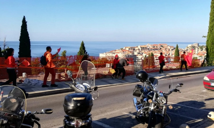 Chinese tourists celebrate 70th birthday of People's Republic of China in Dubrovnik
