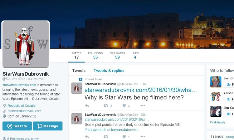 Star Wars Dubrovnik on social media