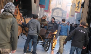 Burning cart on set of Robin Hood in Dubrovnik as Jamie Foxx's body-double has a busy day