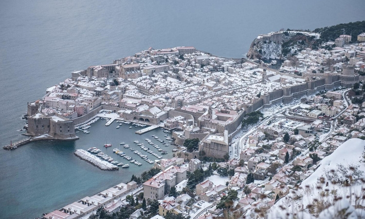 Layer of snow over Dubrovnik