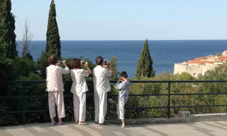 Early morning pyjama party in Dubrovnik
