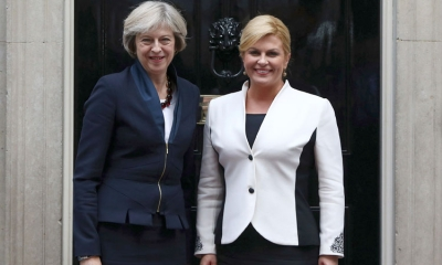 Theresa May greets Kolinda Grabar-Kitarović
