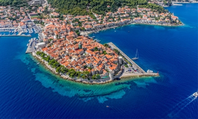 Korcula seemingly floating on the Adriatic Sea