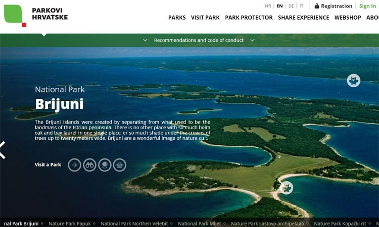 Virtual tour of Croatian national parks on new website