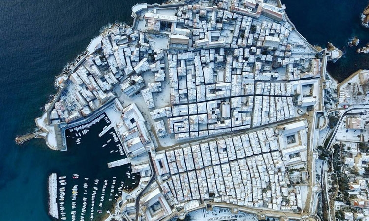 Aerial view of Dubrovnik under snow