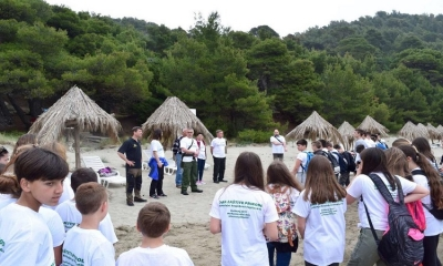 Students clean up one of the most beautiful beaches on Mljet