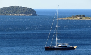Luxury yacht in the Dubrovnik Adriatic