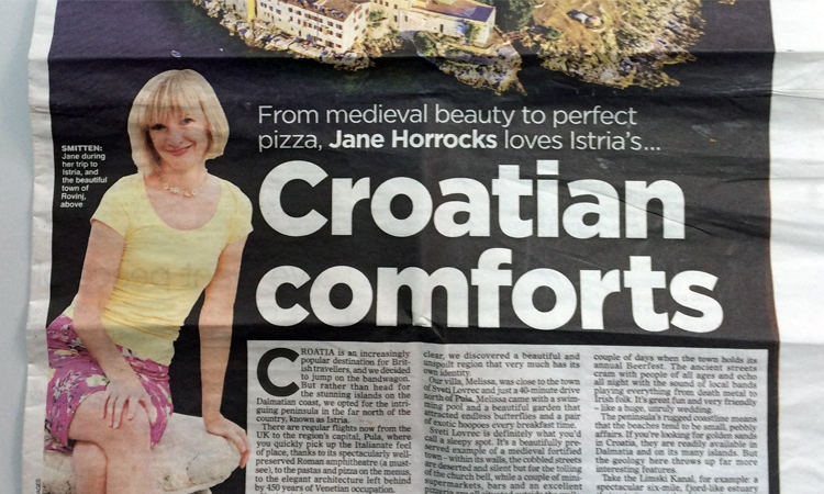 "Jane Horrocks ""Croatian Comforts"" in The Daily Mail"