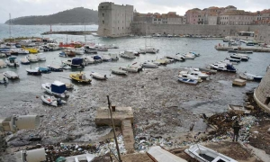 Polluted seas of Old City harbour brought on the back of south winds