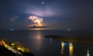 Dubrovnik night sky as summer storm hits