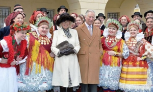 Charles and Camilla in colourful company
