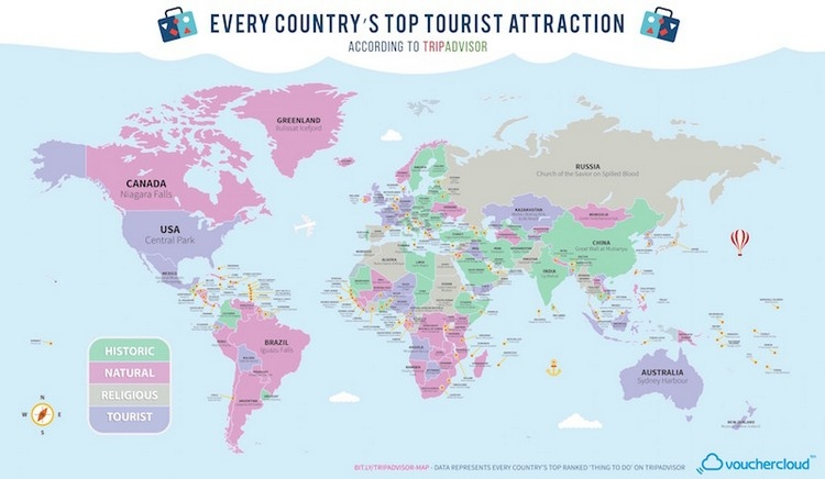 Travel inspiration - map of the most popular tourist attractions