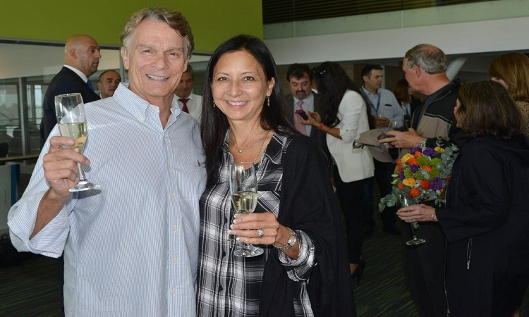 Stephanie Eng Allen with her husband Jack Allen, 2 millionth passenger