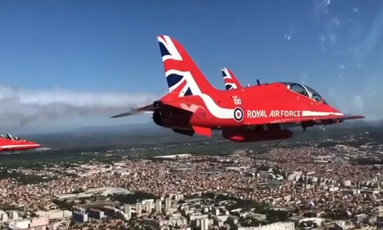 Red Arrows flying over Zadar