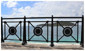 New fence above Banje Beach decorated with traditional Dubrovnik detail