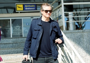 Colin Firth arrives at Split Airport