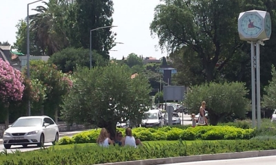 READER'S PHOTO – Tourists find shade on a roundabout
