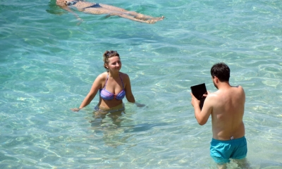 iPad in the sea